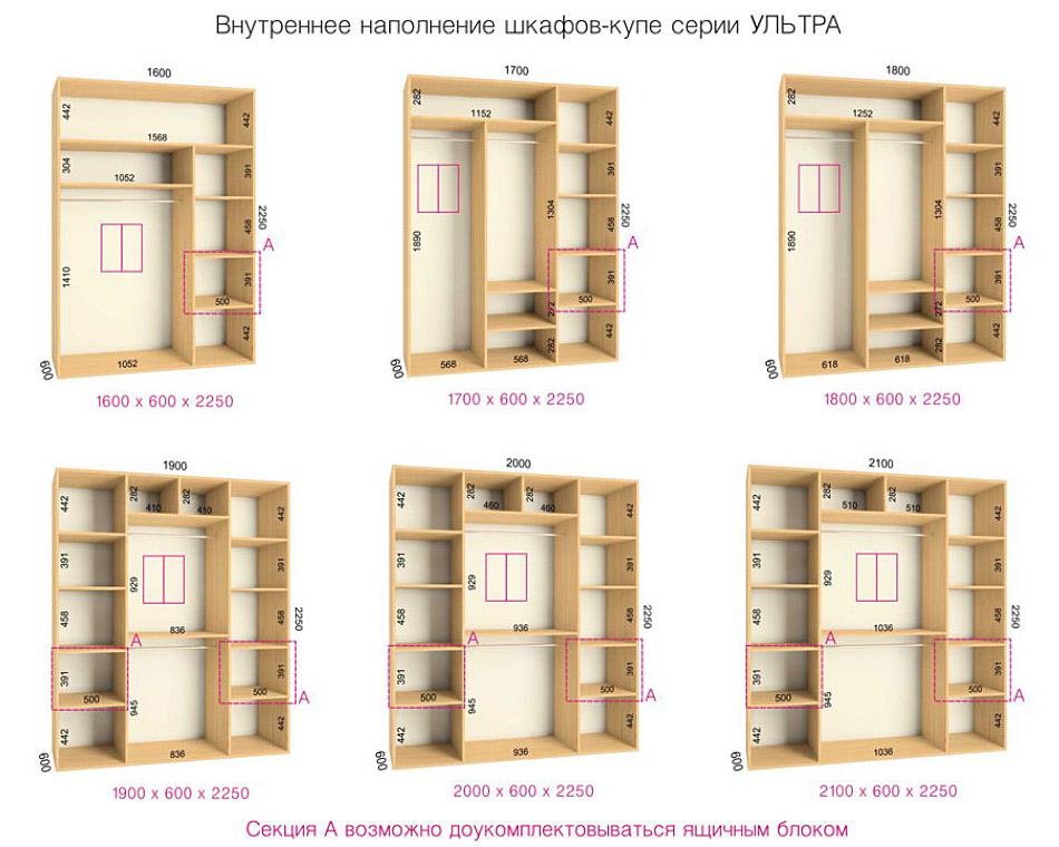 """Внутреннее наполнение шкафов купе серии """"ультра"""" мебельный к."""
